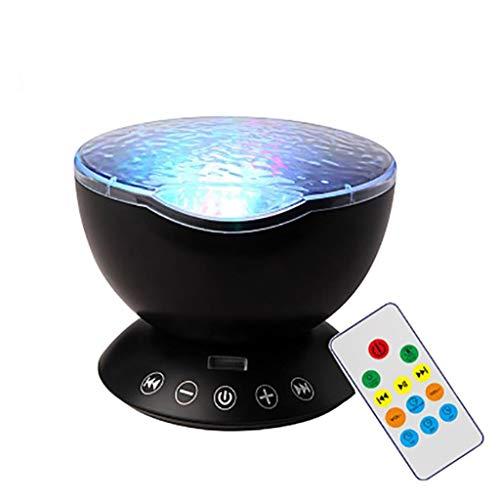 Back To My Hut Ocean Wave Projektor Nachtlicht, Fernbedienung Schlaflicht Lampe Eingebaute Musik-Player, Baby Zimmer, Partys, Feiertagsfeier, TF-Karte,Black