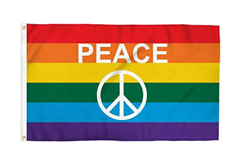 Rainbow Peace Sign Flagge 3 x 150 Poly -