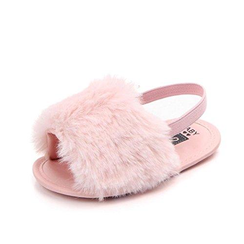 Elecenty scarpe per bambini pattini molli della scarpa dei sandali molli molli solidi della lettera del bambino neonato (età:6~12 mesi, rosa)