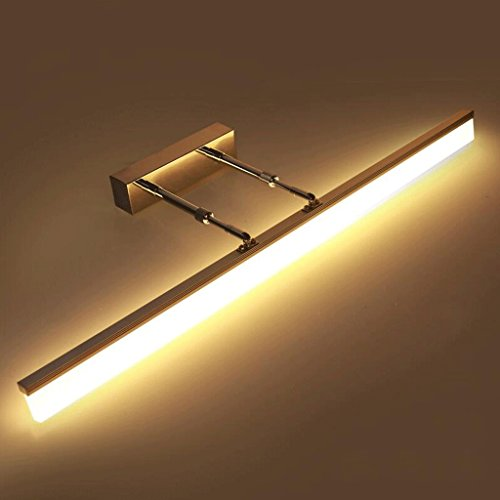 QZz cuarto de baño Acero inoxidable LED de aluminio cuerpo de la lámpara de acrílico Retractable Poles Ángulo de luz ajustable de baño Espejo de luz frontal ( Color : Warm light (3700K) , Tamaño : 16w80cm )