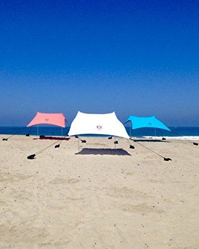 Neso Tentes Tente de plage avec ancre de sable, Canopy portable SunShade - 7 'x 7' - Coins renforcés brevetés (blanc) - Beach Tent with Sand Anchor