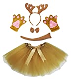 Petitebelle Brown Reindeer Xmas Headband Bowtie Glove Skirt Lady 5pc Costume (One Size)