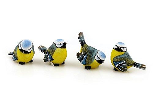 4x Deko Figur Vogel Vögelchen Meise zum Stellen im Set, 6,5 x 5 cm aus Polystein blau gelb grün, Dekofigur Meisen Vögel Dekovögel