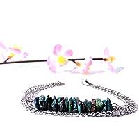 Bracciale in argento, gioiello di pietra Bracciale nero ossidiana, chakra, bracciale catena fine, gemma gioielli...