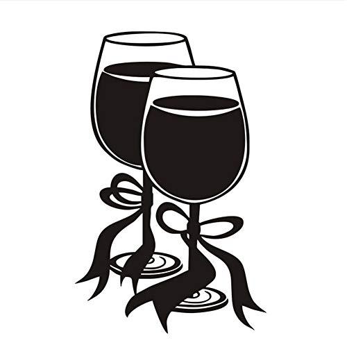 Mddjj Modern Style Restaurant Home Zwei Gläser Wein Mit Bogen Ribbon Wandaufkleber Küche Tiv Wandbild Zimmer Aufkleber Diy Decals58X91Cm Wohnzimmer Dekoration Kinderzimmer (Bögen Ribbon)