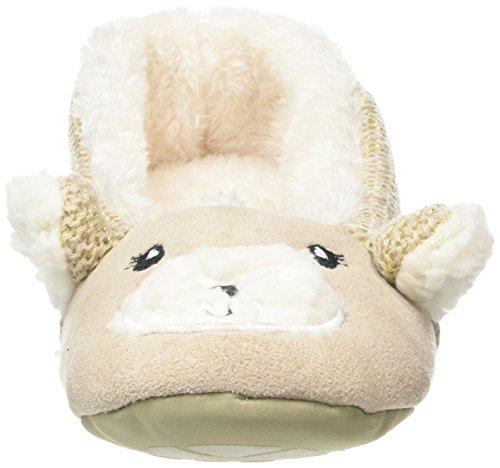 Totes Damen Ladies Knit Back Novelty Bear Ballet Slipper Hausschuhe Beige  ...
