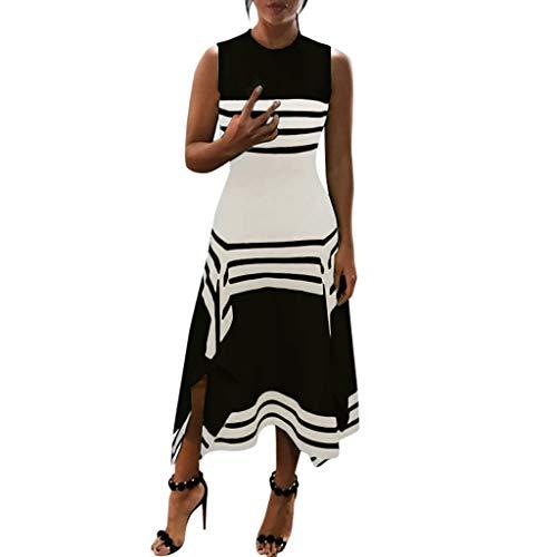 Lucky Mall Frauen Mode Streifen Ärmellos Kleid mit Unregelmäßiger Saum, Damen Rundhals Tank Rock Sommer Lässiges Lockeres Kleid Festkleid Strandrock Urlaubsrock