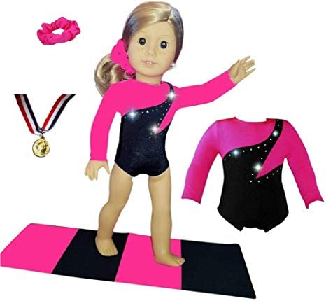 Doll Gymnastics Clothes for American American American Dolls for Girls Outfit Includes Neon Green Sparkly Dance Olympic Leotard and Hair Accessory USA (2 Piece Set) B00IEO589C 96ed64