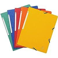 Exacompta 55410E Paquet de 10 Chemises à élastique sans rabat en carte lustrée 355 g/m² 24 x 32 cm Couleurs assorties