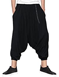 ELLAZHU Homme Dance Hippie Zipper Big Crotch Sarouel Pantalon GYM100 A