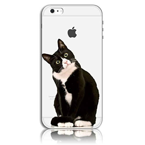 iPhone 6 Plus Cover, Bonice iPhone 6S Plus Custodia (5.5), Ultra Slim Thin Morbido TPU Clear Trasparente Animale Cat Case Pattern 01
