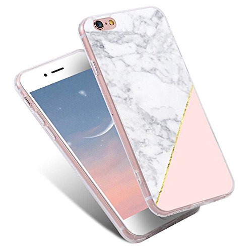 "For iPhone 6S Plus Case,iPhone 6 Plus Cute Case,LLZ.COQUE Bling Shiny Rose Gold Stone Marble Print Case,Glitter Ultra Thin 2in1 Protective Soft TPU Bumper Shockproof Cover Hard PC Case 5.5"" Pink"