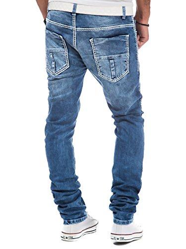 Biker Jeans Herren Denim Hose Slim Fit Tazzio dicke Nähte Vintage Used Blau Blau