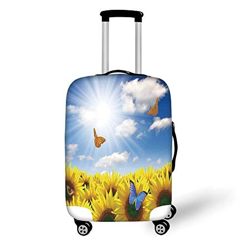 Travel Luggage Cover Suitcase Protector,Modern,Sunflowers in The Meadow with Flying Butterflies Floral Image Country Style Home Design,Yellow Blue,for Travels 19x27.5Inch Butterfly Meadow Box
