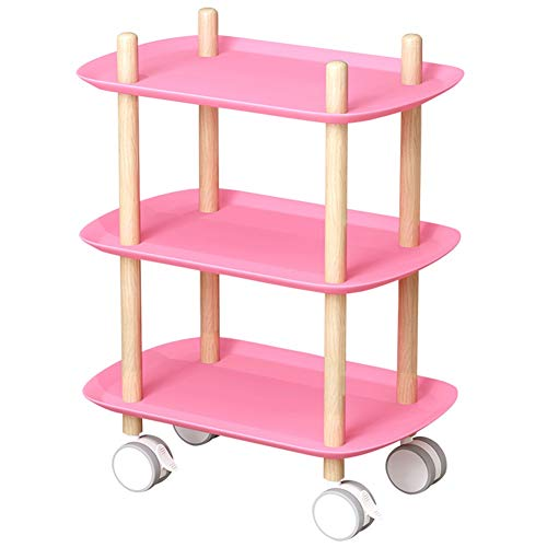 LITINGFC Servierwagen Küchenwagen Bar Schönheitssalon 3 Schichten Massivholz 360° Drehung Lagerung Leicht Zu Bewegen, 3 Farben (Color : Pink, Size : 56.5x36x74cm)