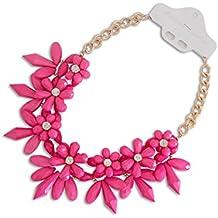 XXL Cadena Collar llamativo lujo Crystal espina flores en rosa NUEVO
