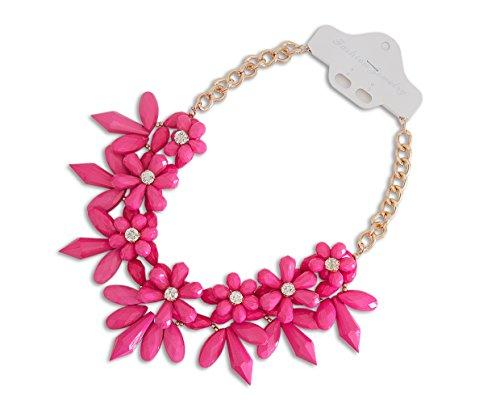XXL Luxus Statement Halskette Kette Collier Stachel Blumen in der Farbe pink Modeschmuck Statementkette Schmuck von der Marke...