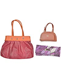 JHD Red Shoulder Bag With 2 Hand Bag Gold-Purple Set Of 3 Pcs Combo