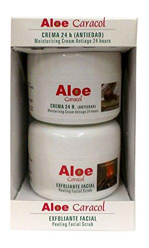 Aloe Caracol 100100 - Pack de crema 24 horas antiedad y peeling facial con baba de caracol y aloe vera, 100 ml + 100 ml