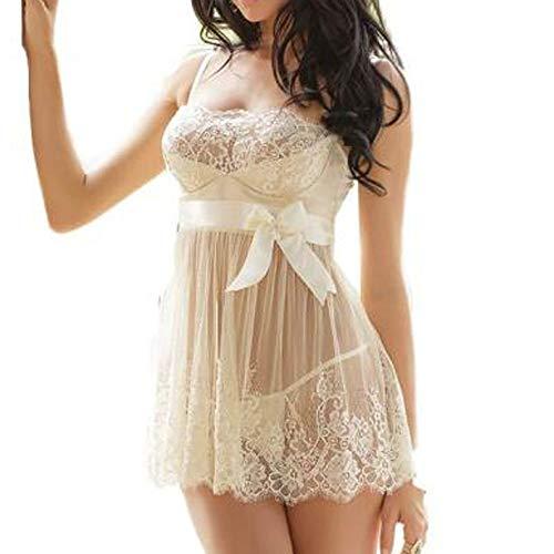 Auied Frauen Weiß Braut Mesh-Kleid Spitzenkleid Häkeln Nachtwäsche + G-String Versuchung UnterwäSche