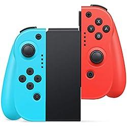 Manette Switch ,Timoom Manette Pro sans fil Pour Nintendo Switch , Remplacement JOYCON Contrôleur pour Wireless Bluetooth Controller Joystick - Bleu néon et Rouge néon