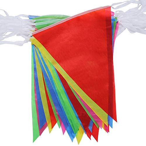 50M Wimpelkette, Ewendy Mehrfarbig Wimpel mit Dreieck Flaggen, Nylon Stoff Bunting Banner für Geburtstag, Hochzeit, Outdoor, Indoor Aktivität, Party Dekoration
