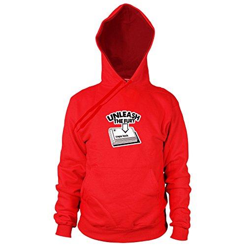 (Caps Lock Fury - Herren Hooded Sweater, Größe: XXL, Farbe: rot)