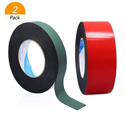 meetory 2Pack 10m (25mm und 50mm) Double Side Schaumstoff Klebeband, wasserdicht Montage Klebeband Rolle, Schwamm Tape schwarz (rot und grün)