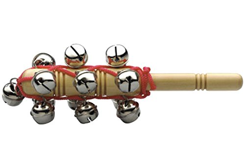 Stagg 14909 13 Sleigh Bells on Wooden Handle