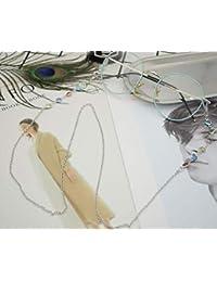 Gafas de retención de cadena multicolor con cuentas, cadena de cordón, 1 pieza 80 cm plata