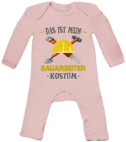 Shirt Happenz Kostüm Bauarbeiter Babybody Verkleidung Karneval Fasching Langarm Langärmliger Strampler, Farbe:Babyrosa (Powder Pink BZ13);Größe:6-12 - Bauarbeiter Kostüm Baby