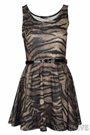 New Womens Plus Size Printed Belted Flared Skater Skirt Dress (16/18, Tiger)