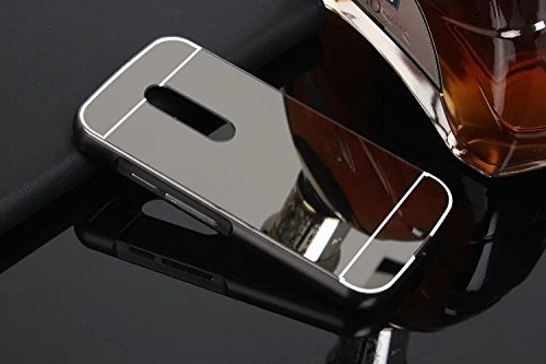 iSAVE New Luxury Metal Bumper Acrylic Mirror Back Cover Case For Moto G Plus 4th Gen ( G4 Plus / G 4th Generation ) - MIRROR BLACK