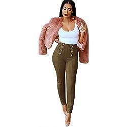 MORCHAN ❤ Taille Haute Slim Skinny Femmes Leggings Pantalon Stretch Jeggings Crayon Jeans Combinaisons Pantalon Court Collants Knickerbockers(S,Vert Armée)