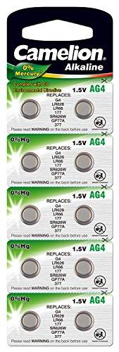Camelion 12001004 Alkaline Knopfzelle (AG4, LR66, LR626, 377, 10er-Pack, Blister) (Uhrenbatterie Sr626sw 377)