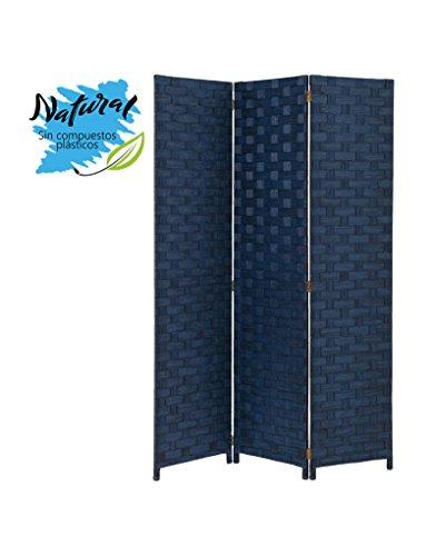 Biombo Azul de Papel Trenzado y Madera Plegable de Tres Paneles 120 x