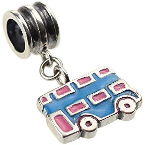 Beads Hunter Authentic-Ciondolo in argento Sterling 925, con rosa & Blue Double Decker Bus-London-Pendente da donna per bracciale a europea - Decker Driver