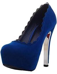 Coolulu Mujer Zapatos de Tacón Alto y Fino con Plataforma Punta Cerrada  Calzado con Encaje Elegante 4537d636a920