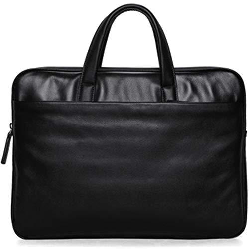HYwot schwarz schlanke Herren Aktentasche Laptop Business Tasche Ledertasche weiches Leder Freizeit Aktentasche Leder -