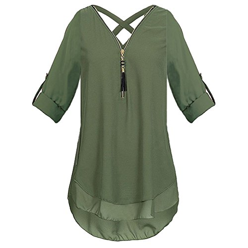 JUTOO Womens V Neck Zipper Pure Color Chiffon T-Shirts Casual Loose Tops Tunic Blouse(Z-Armeegrün, EU:46/CN:XL)