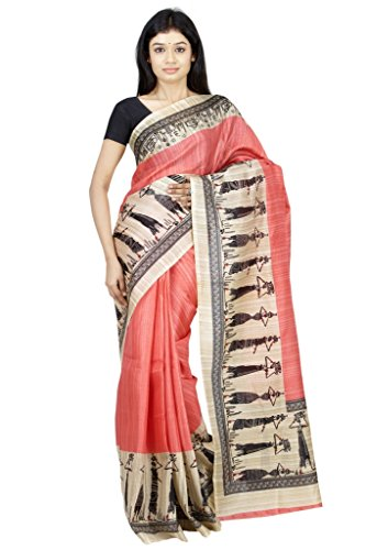 The Chennai Silks - Warli Print Khadi Silk Saree - Honey Suckle Pink - (CCPSY130)  available at amazon for Rs.345