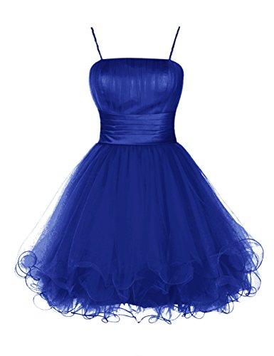 Dresstells, Robe de cocktail Robe de demoiselle d'honneur Robe de bal longueur genou en tulle forme princesse bretelles spaghetti Bleu Saphir