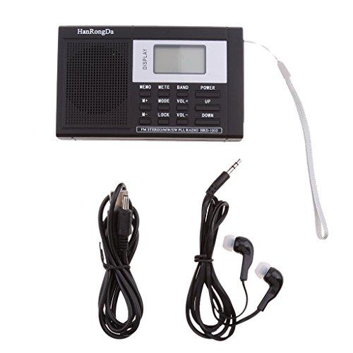 Zu Kurzwellen-radio Hören (Dolity Portable Radio FM, LCD Display, Wiederaufladbarer Akku mit Ohrhörer,schwarz)
