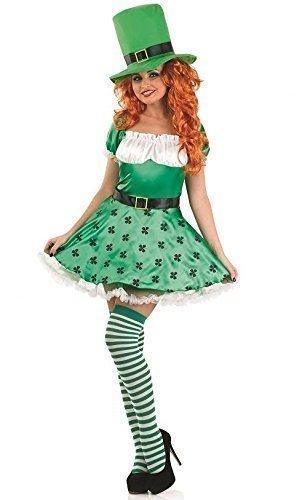 Damen Sexy Grün Kobold St Patrick Tag + Strümpfe Kostüm Kleid Outfit 8-22 Übergröße - Grün, Grün, 12-14