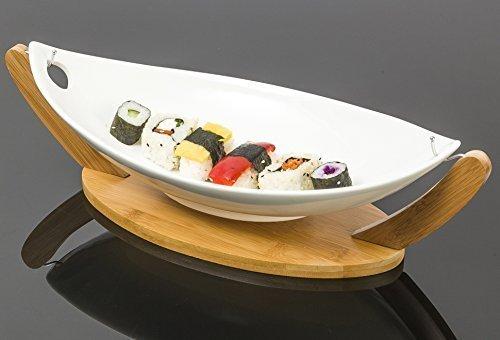 """""""Phuket boat-style Grand plat de service en céramique pour secteur ou amuse-bouches avec support en bambou, finition blanc brillant-38x 18cm"""