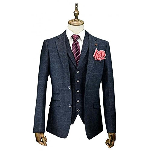 Cavani Draco 3 Stück Anzüge Check Regelmäßige Passen Tweed Blazer Marine Check UK 52R = EUR 62 - Slim Fit, Marine Check