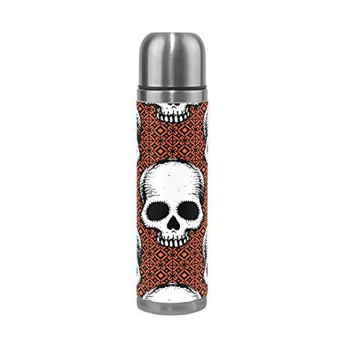 Jeansame Isolierflasche Thermoskanne Thermosflasche Becher Edelstahl 500 ml Vintage Halloween Totenkopf Karo Karo Karo (Karo-flasche Männer Für)