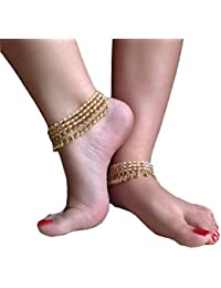 Womensky Antique Traditional Kundan Pearls Stone Fancy Payal/Anklet/Pajeb For Women And Girls