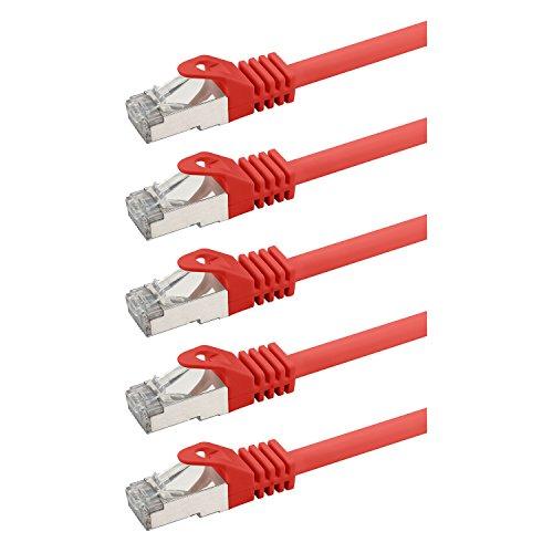 rocabo 126005 RJ45 Netzwerkkabel Patchkabel mit CAT 7, Ethernet Gigabit LAN Switch Router, Halogenfrei 1,50m (5 Stück) Rot