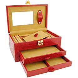 2-drawer leather jewelry box engraved coconut Size: U Color: RED